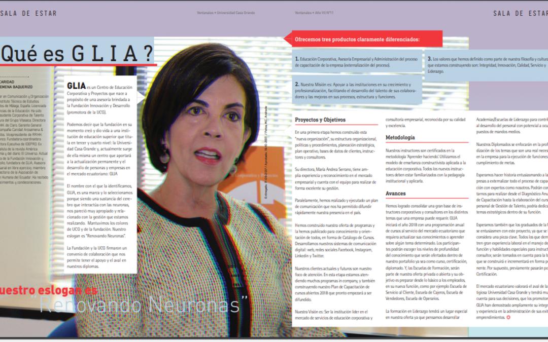 Reportaje de Glia en la revista Ventanales
